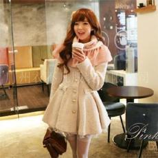 2011日韓秋冬新款氣質蝴蝶結假口袋單排扣女式毛呢大衣