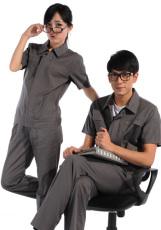 斜纹铁灰短袖纯棉工作服WY510-008