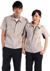 斜纹浅驼短袖纯棉工作服WY510-012
