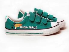 繪寶手繪鞋 魔術貼帆布鞋 精美涂鴉鞋 憤怒的小鳥