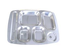 深圳不锈钢快餐盘 超耐用食堂餐盘 全不锈钢餐盘五格六格