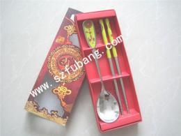 婚庆礼品餐具 情侣礼品餐具 不锈钢勺筷两件套