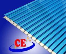 湖藍色陽光板-表面防霧滴抗風雪車棚用料