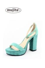 夏季新款粗跟高跟厚底防水台时尚潮流真皮气质女凉鞋
